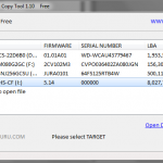 HDD Raw Copy Tool: Select TARGET (the CF-card)